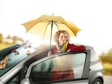 Sonbaharda otomobilde bir kadın
